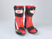 Free shipping Men Motorcycle Biker Racing Gear Leather Shoes Speed Boots US Size 7-12 Red[PA45-50]