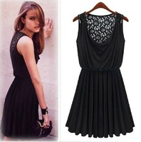 2012 women's 885936 ladies sexy lace patchwork elastic waist black sleeveless one-piece dress