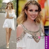 2012 summer women's 68579 fashion luxurious beading elegant white strapless chiffon one-piece dress