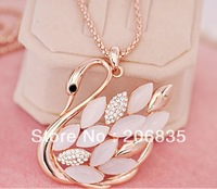 Faahion New Style  Female Cat's Eye Stone Swan Necklace With Rinestone Swan Necklace