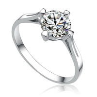 Genuine 925 sterling silver platinum plated swiss shining diamond engagement ring GR012