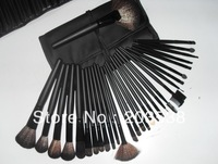 Christmas gift ! Free shipping !New 32 pcs Professional Makeup Brush Sets Cosmetic Brushes kit  with Black Leather Case