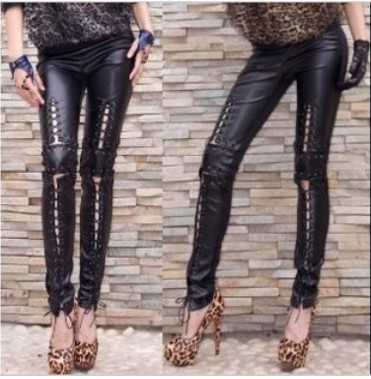 womens ladies punk funky sexy SIDES LONG LACE UP footless leggings tights BLACK(China (Mainland))