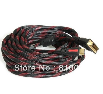 Free shipping 46ft 15m golden DVI-D to HDMI cable with nylon mesh&dual ferrite cores supports up to 1080p resolutions
