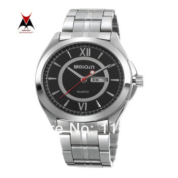 Newest WEIQIN Business Style Original Date Day Display Wristwatches Brand Men Silver Steel Watches Relogio Quartz Water Resist