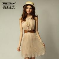 2014 new fashion 80 2014 fashion elegant gentlewomen solid color pleated chiffon one-piece dress