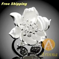 Arinna Flower Ring 18K Gold Plated silver rhinestone austrian crystal Ring fashion  jewelry for women J1821