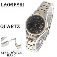 Laogeshi Quartz Analog Watch with Calendar Function Waterproof Black Round Shaped Steel Band for Female (Silver & Golden)