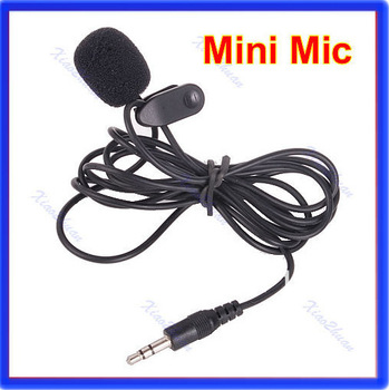 Free Shipping 3.5mm Hands Free Clip On Mini Lapel Mic Microphone For PC Notebook Laptop Black