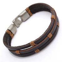 Tribal Leather Wristband Surf brown Mens Bracelet B495