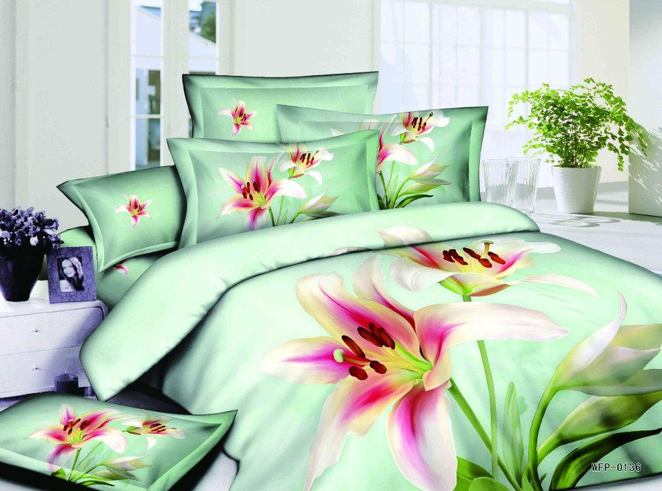mode romantique rose frais 500tc lily fleur verte housse de couette 100 obliques coton couette. Black Bedroom Furniture Sets. Home Design Ideas
