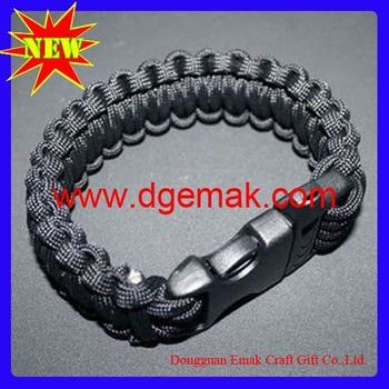 Wholesale mix color  safety shamaballa mesh magnetic paracord survival bracelet