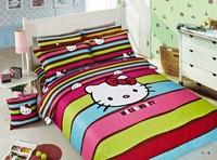 New Beautiful 4PC 100% Cotton Comforter Duvet Doona Cover Sets FULL / QUEEN / KING SIZE bedding set 4pcs cartoon  hello kitty