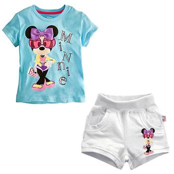 Wholesale!5set/lot Minnie girl's suit,children 2pcs set blue short T-shirt+pants Children summer short sleeve sets,Free shipping