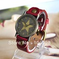 Red Retro Fashion Quartz Watches Leather Young Women Vintage Watch Casual Lady Wristwatches Star Wrist Latest Styles Hot