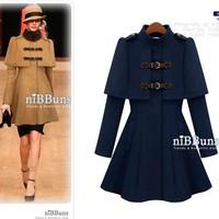 2012 autumn and winter women fashion woolen cloak outerwear british style cape outerwear woolen outerwear female