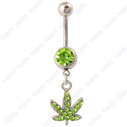 Green Tree leaf Belly button rings fashion woman body piercing navel jewellry Wholesale 14G Surgical Steel TAIERS(China (Mainland))
