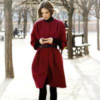 Piece set fashion woolen outerwear wool coat belt