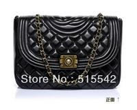 Free shipping 2013 Wholesale woman designer genuine sheep leather bag ancient  female shoulder lattice chain bag ff66916 *qq24