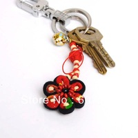Free shipping Pure hand labour Unique Chinese Ethnic style Cellphone Pendant key chain with a small round flower bell