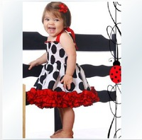 New, retails ,Free Shipping, grils dress, icoolbaby ,red band + black round circle color, 80-120cm,1pcs/lot--JYS31