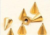 Free shipping 200pcs/bag DIY clothing bags shoes accessories punk wind pure copper gold peak nail warhead 1 cm rivet
