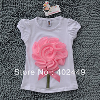 HOT 5pcs/lot tees girls clothes,summer white t-shirts cotton kids tops,flower children t shirts