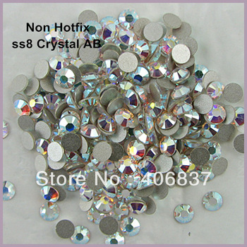 1440pcs/Lot, ss8 (2.3-2.5mm) Crystal AB Flat Back Non Hotfix Rhinestones,  Free Shipping! Nail Art Glue On Rhinestones