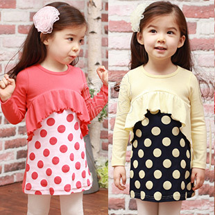 Free shipping!Retail 2013 Hot spring autumn polka dot lotus leaf girls dress/Red yellow kids dress Children clothing(China (Mainland))