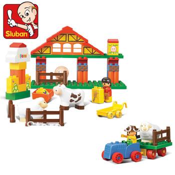 Free shipping !  Sluban 55 pcs /set Children early eductional happy farm assernbly block toy .