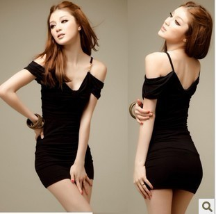 2013 fashion sexy black dress slim hip one-piece dress