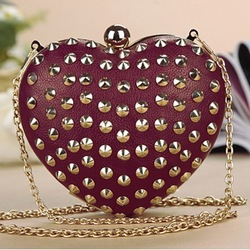 2013 fashion punk day clutch heart shape rivet cross-body evening bag bridal bag peach heart bag(China (Mainland))