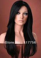 Natural straight #1b black color heat resistant fiber synthetic hair front lace wigs