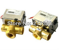 3 Way 1/2'' Motorized Valve for Air Conditional water system 2 wires Spring Return AC24VAC,AC110V,AC220V