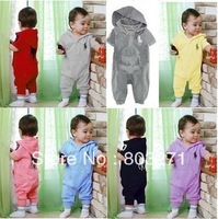 Hot-selling infant summer pololee hooded baby romper handsome  for boys and girls,baby garment,baby clothes