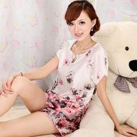 Silk nightgown Summer fashion short-sleeve sexy women's sleepwear twinset thin faux silk lounge powder