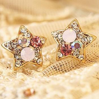 Wholesale Cheap 2015 New Fashion Trendy Cute Star Shaped Multicolor Rhinestone Crystal Stud Earrings for Girls Women Earrings