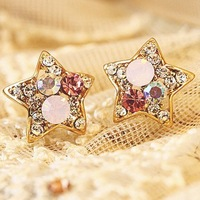 Wholesale Cheap 2014 New Fashion Trendy Cute Star Shaped Multicolor Rhinestone Crystal Stud Earrings for Girls Women Jewelry Hot