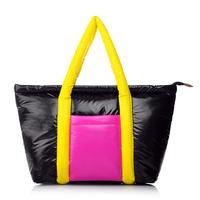 Female color block space cotton bag shoulder bag women's handbag down bag a157