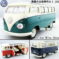 New Volkswagen American Classical Bus Large 1:24 Diecast Model Car Green Toy collection B119c