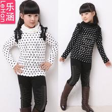 Female child basic shirt autumn and winter child long-sleeve T-shirt thickening plus velvet turtleneck dot child underwear(China (Mainland))