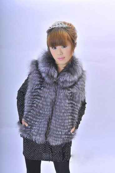 Mid-Long Women Design Genuine Silver Fox Fur Vest / Jacket/Gilet Ladies Winter Fur Waistcoat Wholesale & Retail FV2049(China (Mainland))