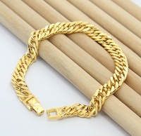 Loose Money,  Free shipping, 24K gold plated Bracelet, Men's Jewelry, Cable Chain Bracelet, gold plated Jewelry KB11