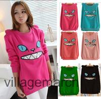 NEW!! Coloured Zip Month Smile Shoulder 3D Ear Cat Front Jumper Fleece Shirt Top