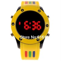 Round Sports Digital LED Watch Fashion Cool Watch Yellow