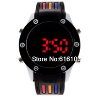 Round Sports Digital LED Watch Fashion Cool Watch Black