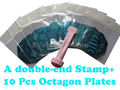 10pcs octagon Stainless Steel Image Plate + 1 double-end stamp with scraper Nail Art Stamping set Nail printer Set #1082