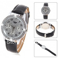 Trendy Bolun Unisex Rhinestone Decoration Round Dial Numerals & Dots Indicate Time Leather Quartz Wristband Watch B1000 (Black)