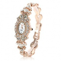 Exquisite Golden Watch for Female with Shining Jewelry Chain - B2832