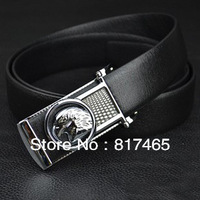 Eagle Head Belt for Men Real Leather Black strap Silver Buckle Fashion Luxury Belt 2013 Free Shipping